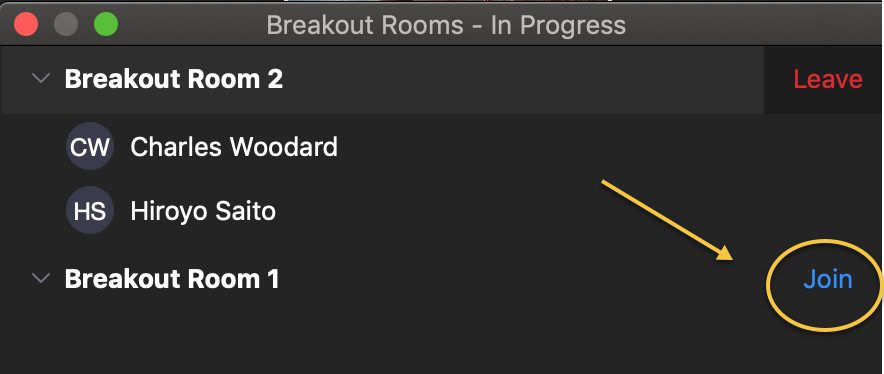 screenshot of breakout rooms pointing how co-hosts can join a different breakout room.