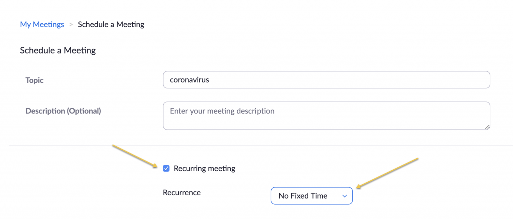 Screenshot of scheduling a meeting: The recurring meeting checkbox and No Fixed time option are highlighted.