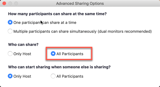 All Participants option highlighted in the Advanced Sharing Options for Screen Share