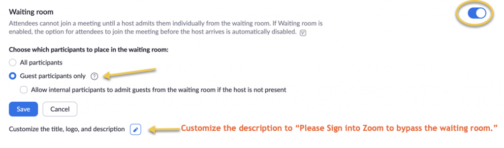 "A screenshot showing Waiting Room enabled, choosing Guest participants only to be paced in the waiting room. A suggestion to customize the description for something like ""Please sign into Zoom to bypass the waiting room."""