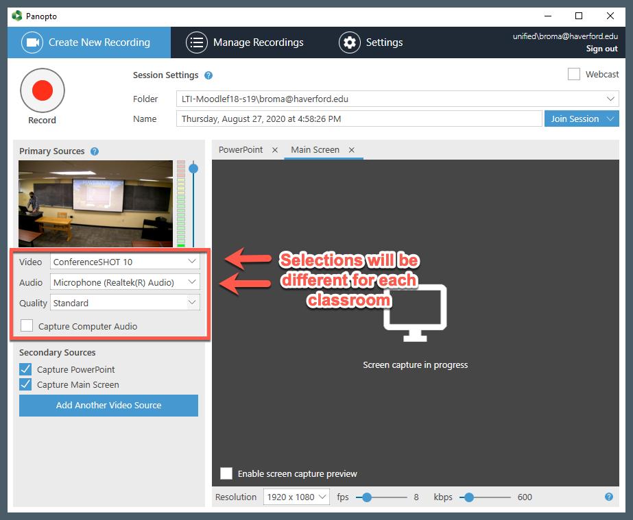 Screenshot that shows the Panopto settings window.