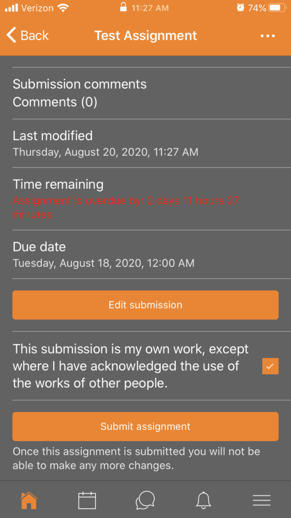 Confirmation screen for Moodle mobile application assignment submission.